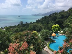 The pool uphill (jacqYmel) Tags: island view sea tropical tree graden jungle botanic uphill pool seaviewresort kohchang thailand