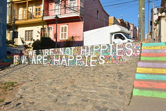 happies; not hippies (cam17) Tags: chile valparaiso valparaisochile graffiti streetart valparaisograffiti retainingwall colourfulwall happieswall hippieswall