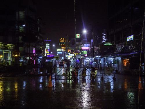 A rainy evening, Khaosan Road, Bangkok.