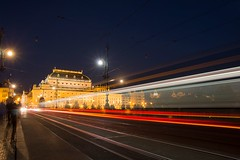 Praha by Night (Esther5h (On and Off)) Tags: 2016 nationaaltheater praag tsjechi lighttracks maan moon tram prague praha nightphotography night