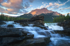 Athabasca Fences (romiana70) Tags: athabasca river jasper national park canada falls waterfall canadian rockies sunset mountain peak outdoors summer travel tourism