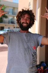 Happy hippie (areavie@gmail.com) Tags: canon 5d iii menorca minorca spain street photography photos mahon mao male subject portrait candid allen reavie 2016 men alan guy curly permed hair espaa foyle