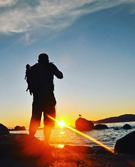 This Guy (kristinkarmella) Tags: sillouette beach water sunset vancity vancouver