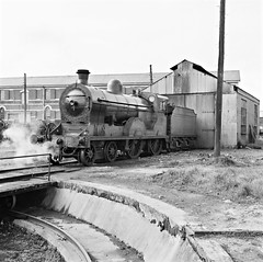 April 22, 1961 (National Library of Ireland on The Commons) Tags: train engine saturday trains turntable steam april locomotive 1960s railways 440 gnr sixties tender 1961 railroads sheds 22nd greatnorthernrailway generalstores enginesheds nationallibraryofireland corasiompairireann ci enginewheels jamespodea odeacollection ci17