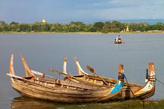 Boats near U Bein Bridge (theseBoetz) Tags: lake boats boat burma myanmar amarapura ubeinbridge