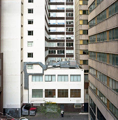 alleyway, Melbourne (thoughtfactory) Tags: people tree architecture alleyway offices phototrip gitzotripod kodakportra160nc macpro carparkrooftop rolleiflexsl66 garysauerthompson zeissdistagon50mmf4 lightroom36 nearlittlelonsdalest