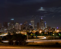 Peekaboo with the Perigee (floyka) Tags: moon night colorado downtown denver full f64 perigee floyka supermoon f64g44r1win f64g44