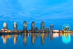 Science World (boingyman.) Tags: city longexposure travel blue vacation sky canada reflection water night vancouver canon buildings landscape lights cityscape bc tripod stock getty bluehour 1022 scienceworld gettyimage t2i boingyman