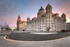 Liverpools The Three Graces at Sunrise (Mark Carline) Tags: liverpool three hdr graces the photomatix hdrsoft welshot