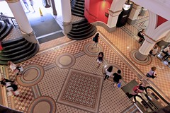 Queen Victoria Building (oxfordblues84) Tags: people architecture stairs circles interior au sydney australia nsw newsouthwales qvb romanesquerevival queenvictoriabuilding floortile shoppingarcade floorpattern georgemcrae mosaictilefloor