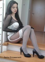 Fotografie2018fz (Sarka Encasement) Tags: white stockings women nylon encasement