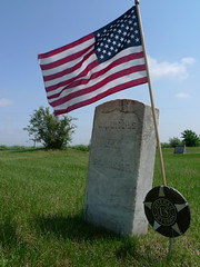 Memorial Day (LeicaNokota) Tags: leica cemetery wisconsin soldier wounded honor americanflag petersburg marker veteran wi memorialday battles 1865 fallcity settled honoring enlisted sailorscreek waroftherebellion dlux4 5thwisconsininfantry josephwwiggins hatchsrun