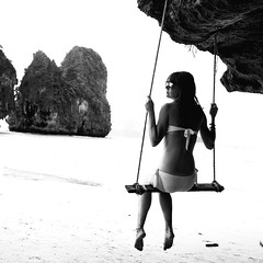 La balancoire (cdolls) Tags: portrait people blackandwhite beach water rollei rolleiflex square eau ab squareformat plage krabi rayban blackdiamond 120mm thailande balancoire raileybeach flickraward bwfp rememberthatmomentlevel1 rememberthatmomentlevel2 rememberthatmomentlevel3