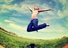 As High As I Might (SOMETHiNG MONUMENTAL) Tags: sky selfportrait silly grass fun fly spring jump nikon farm fisheye soar d60 somethingmonumental mandycrandell