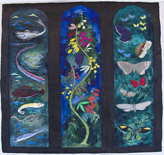 John Piper, cartoon for John Betjeman memorial window Farnborough, Berkshire (Martin Beek) Tags: blue colour art church window modern piper johnpiper britishartist