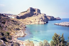 930517  St Paul's Bay, Lindos, Rhodes (rona.h) Tags: 1993 greece sail cacique rhodes lindos stpaulsbay ronah vancouver27 sailmagazine