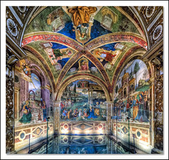The Baglioni Chapel by Pinturicchio (R.o.b.e.r.t.o.) Tags: italy church painting nikon italia pg fisheye chiesa painter roberto fresco umbria spello pinturicchio santamariamaggiore bernardinodibetto iso6400 hdr1raw d700 cappellabaglioni pintoricchio cappellabella