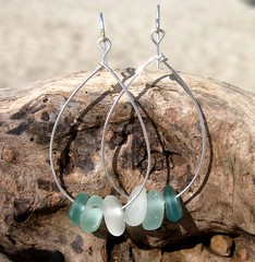 IMG_7537 (LindseysBeachGlass) Tags: blue sea white green beach glass colors leather silver hawaii wire aqua handmade teal jewelry clear bracelet hawaiian earrings seaglass rarecolor olibe