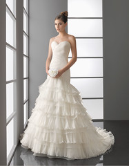 Sweetheart trumpet / mermaid organza wedding dress (WEDDINGIlove) Tags: fall church hall feather empire zipper satin tulle strapless beading ruffle sleeveless bridalgowns fullylined builtinbra gardenoutdoor floorlength airebarcelona sheathcolumn sweepbrushtrain