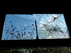 Life Beyond (Amber-Thomas) Tags: sky broken window glass smashed cracked