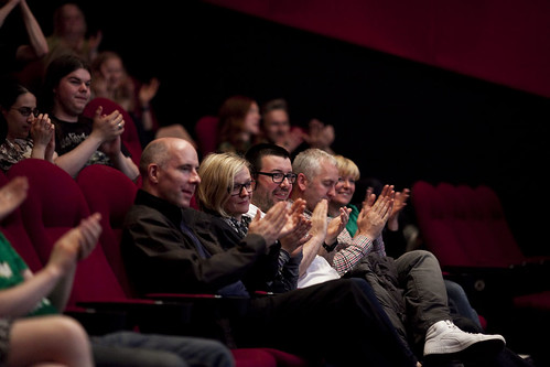 Attendees listen to Bobcat Goldthwait and Joel Murray at the Q&A for God Bless America at the Cineworld