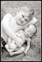Brothers (sarahkathleendavis) Tags: summer blackandwhite baby boys outside outdoors infant brothers july newborn 2012