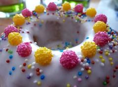 Happy Birthday,... (SabineausL) Tags: birthday pink yellow cake lumix colorfull rosa tasty panasonic kuchen zucker tastyfood ss gebacken zuckerstreusel buntestreusel panasonicdmctz4 sabineausl
