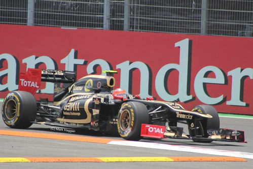 Romain Grosjean in his Lotus F1 car at the 2012 European Grand Prix in Valencia