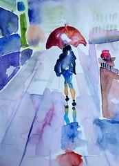 Rainy day, by Vnia (Dona Mincia) Tags: street art umbrella watercolor painting paper rainyday study rua caminhando aquarela guardachuva womanwalking diachuvoso mulherandando