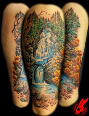 Waterfall Tattoo by Jackie Rabbit (Jackie rabbit Tattoos) Tags: city mountain color nature water tattoo forest star virginia waterfall cool colorful good awesome great roanoke va realistic jackierabbit