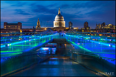 London - St. Paul's Cathedral and the Millennium Bridge (Yen Baet) Tags: city uk greatbritain bridge sunset england people london church water skyline architecture river photography photo twilight cosmopolitan colorful europe european cityscape waterfront cathedral unitedkingdom britain dusk postcard crowd scenic eu landmark icon tourists millenniumbridge historic british bluehour olympics stpaulscathedral iconic metropolitan thamesriver cityoflondon waterscape london2012 britons yenbaet