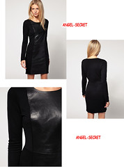 J412 Women's Black knit trims PU long sleeves dress above knee punk rock gothic (angel-secret) Tags: above black rock punk long dress gothic knit womens knee pu sleeves trims