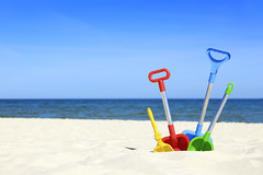 Beach toys (Being.eLLe) Tags: blue sea summer sky beach toy bucket sand colorful play vibrant horizon vivid multicoloured plastic colored shovel vacations