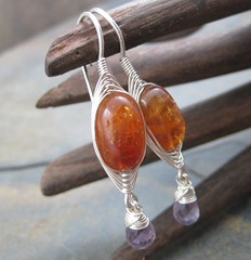 Citrine and Amethyst Drop Earrings (AshleighAnnette) Tags: orange silver golden purple drop honey faceted sterling earrings nuggets weave citrine herringbone dangles briolettes