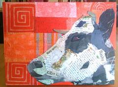 No Bull - Chigirie (Robin Panzer Art Studio 33) Tags: art robin collage paper studio cow 33 painted bull torn panzer chigirie
