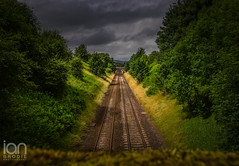 Tracks (ianbrodie1) Tags: railway tracks symentry lines trees train cloud green grass distant bridge north yorkshire outdoors
