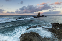 Sirens Reef. [Explored & FP 08-24-2016] (dasanes77) Tags: canoneos6d canonef1635mmf4lisusm tripod landscape seascape cloudscape sunrise dawn clouds sky horizon rocks reef sirensreef water waves longexposure almera cabodegata wind orange