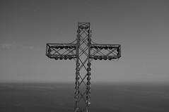 Cross at Rocca di Cefal (Sampo Pekkalin) Tags: italia italy sicilia sicily cross blackandwhite black sea seascape landscape sky summer rocca cefalu