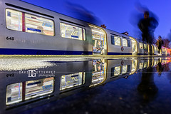 """Night Travel"" London, UK (davidgutierrez.co.uk) Tags: londonphotographer london photographer photography davidgutierrezphotography night art city londonunderground nikond810 nikon urban travel train uk color station blue water bluehour twilight england unitedkingdom colors colours colour  londyn    londres londra europe beautiful cityscape davidgutierrez capital structure britain greatbritain ultrawideangle afsnikkor1424mmf28ged 1424mm d810 longexposure le dusk street arts rain people puddle person passenger tfl tube nighttube"
