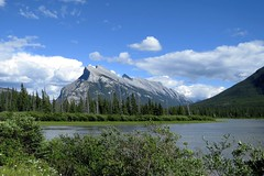 Mt. Rundle (Patricia Henschen) Tags: vermilionlakes vermilion lakes banff alberta canada banffnationalpark national park canadian rockies northern mountains lake clouds rocky mountrundle drive roadside larch trees