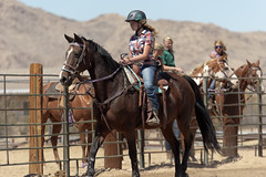 Plaid shirt and jeans (Tackshots) Tags: plaid jeans cowgirl barrelracing applevalley california desert horse racing