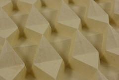 Iso-area Diamond Corrugation (Micha Kosmulski) Tags: origami corrugation diamond triangles wedges elephanthidepaper michakosmulski ilangaribi andrearusso yellow tan tessellation