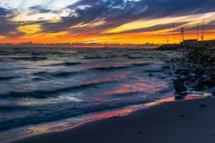 clouds in orange (SeALighT!) Tags: danmark denmark dnemark kattegat sea ostsee pier mole stones waves clouds orange beach evening sunset landscape