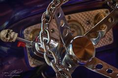 Skeleton Car (Linda O'Donnell) Tags: rollingironcarshow allairestatepark skeleton skull bones chainsteeringwheel steeringwheel