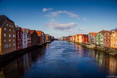 Trondheim, Norway (jforberg) Tags: 2016 trondheim norway noregia norwegian norwegen norge norwegia river water waterfront city sky cloudy color house