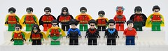 I'm Robin (or not) (Alex THELEGOFAN) Tags: lego robin dc comics nightwing super heroes legography blue red hair black green dark legs flesh classic tv series batcave short cape hood hands very scuba sleeves spiky tim drake dick grayson outfit 30606 little small yellow mask flippers