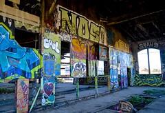 abandoned, bayshore roundhouse, burned out, graffiti, railroad, Southern Pacific (David McSpadden) Tags: bayshoreroundhouse railroad southernpacific burned abandoned graffiti