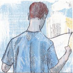 # 262 (18-09-2016) (h e r m a n) Tags: herman illustratie tekening bock oosterhout zwembad 10x10cm 3651tekenevent tegeltje drawing illustration karton carton cardboard male man lezer lezen reading reader read back rug rucke ruggenfiguur ruckenfigur