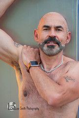 James (Levi Smith Photography) Tags: bald beard tan watch shirtless necklace handsome muscle biceps men man mens smile tattoo fashion portrait
