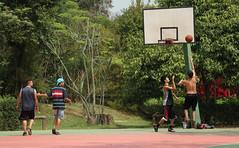 Grupo de amigos aproveita Ibirapuera para jogar basquete (PortalJornalismoESPM.SP) Tags: basquete esporte amigos quadra parque ibirapuera verde cesta
